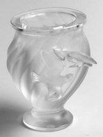 ラリック 花瓶 ロジーヌ Rosine フラワーベース 鳥 フロステッド クリスタル