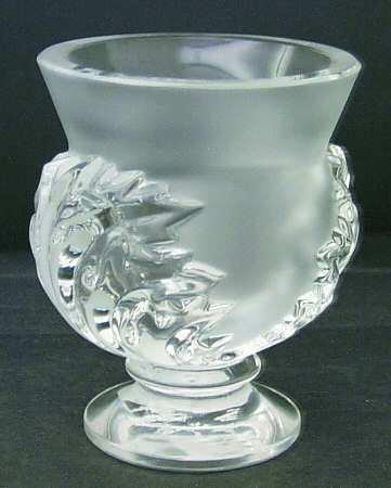 ラリック 花瓶 サン・クルー Saint Cloud フラワーベース 葉 リーフ フロステッド クリスタル