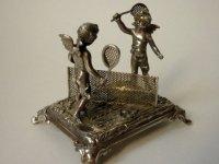 天使がテニスをする銀のフィギュリン アンティーク ドイツ シルバー エンジェル 1900年