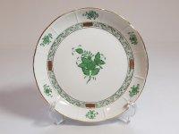ヘレンド プレート■アポニー グリーン サラダプレート 1枚 皿 インドの華 HEREND 1級 美品