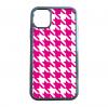 送料無料 iPhone12シリーズ対応 背面強化ガラスケース 千鳥格子柄 ピンク/ホワイト