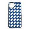 送料無料 iPhone12シリーズ対応 背面強化ガラスケース 千鳥格子柄 ブルー/ホワイト