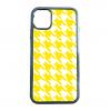 送料無料 iPhone12シリーズ対応 背面強化ガラスケース 千鳥格子柄 イエロー/ホワイト