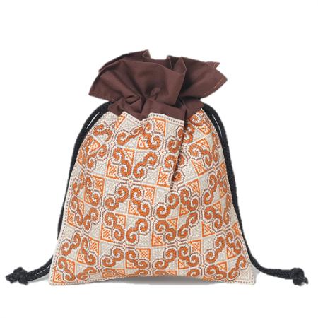 ラオス伝統柄刺繍の巾着袋(ブラウンオレンジL)