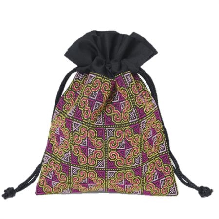 ラオス伝統柄刺繍の巾着袋(パープルL)