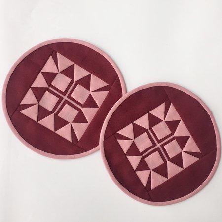 丸形コースター(ワインレッド)2枚組