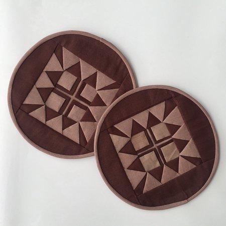 丸形コースター(ブラウン)2枚組