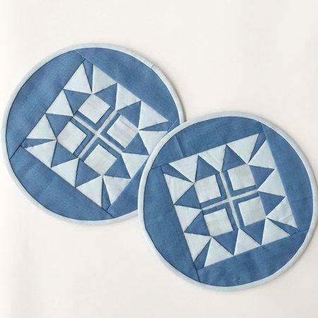 丸形コースター(ライトブルー)2枚組