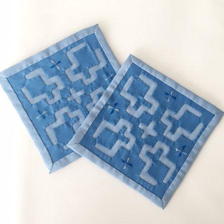 正方形コースター(ブルー)2枚組