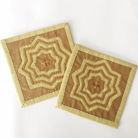 正方形コースター(イエロー)2枚組