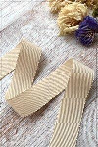 ペタシャムリボン ベージュ(25mm巾×195cm)