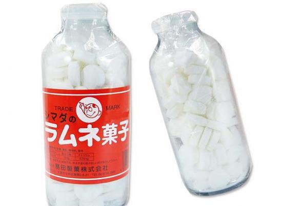 駄菓子のバラ売り・ラムネ系の駄菓子  島田 250g シマダのラムネ菓子 瓶入(バラ売り)