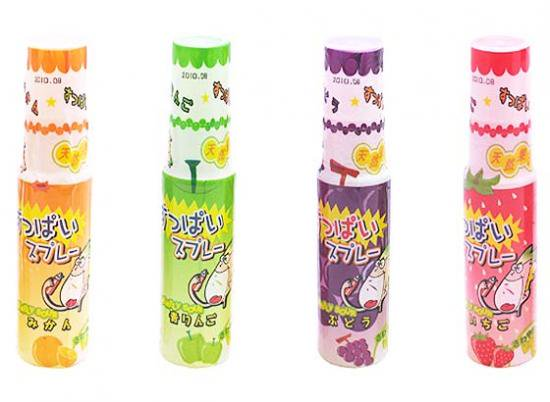 駄菓子のまとめ買い・飴・チューイングの駄菓子  やおきん すっぱいスプレーアソートパック (24本入)