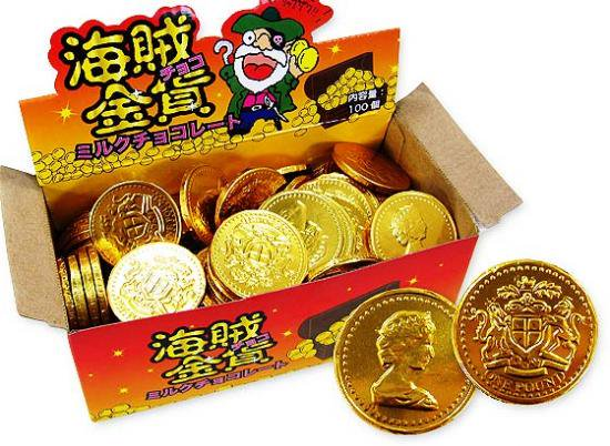 駄菓子のまとめ買い・業務用 やおきん 海賊金貨チョコ(100枚入)
