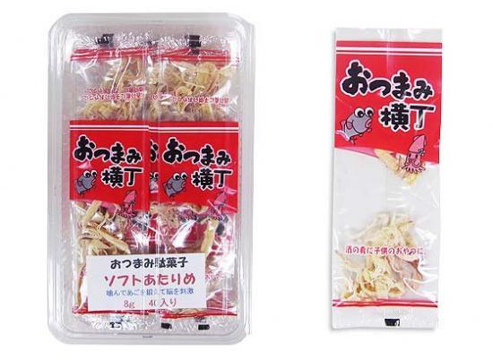 駄菓子のまとめ買い・イカ系の駄菓子  逢阪食品  おつまみ横丁ソフトあたりめ(40個入)