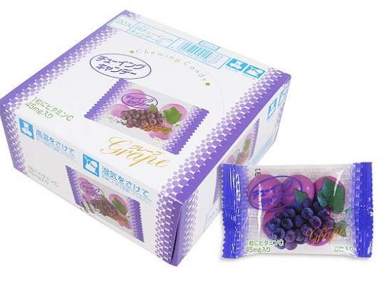 【駄菓子のバラ売り・チューイング系の駄菓子】 明チュウ チューイングキャンディ グレープ(バラ売り)