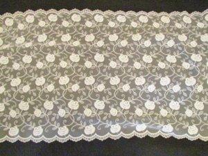 チュールレース・カフェカーテン(両面スカラップ)ローズ柄60cm