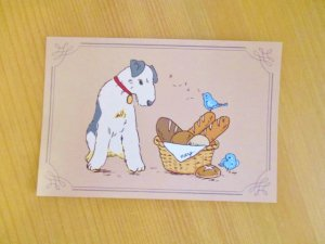 ポストカード(犬と小鳥)