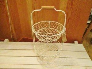 ワイヤーラウンド2段バスケット(Wh)