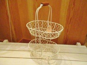 ワイヤーオーバル2段バスケット(Wh)