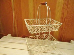 ワイヤーレクタングル2段バスケット(Wh)