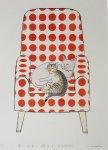 赤い水玉の椅子とHUGねこ
