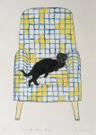 テトリス風の椅子と黒ねこ