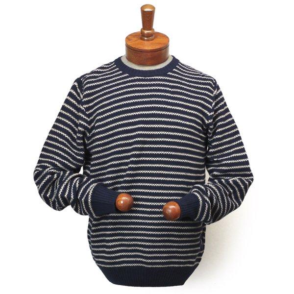 Barbour Legion Stripe Crew Sweater バブアー(バーブァー)ボーダー ジャガードセーター コットン×リネン 【$179】 [新品] [021]