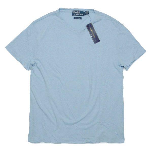 Polo Ralph Lauren ポロラルフローレン リネン混紡 VネックTシャツ【$75】 [新品] [047]