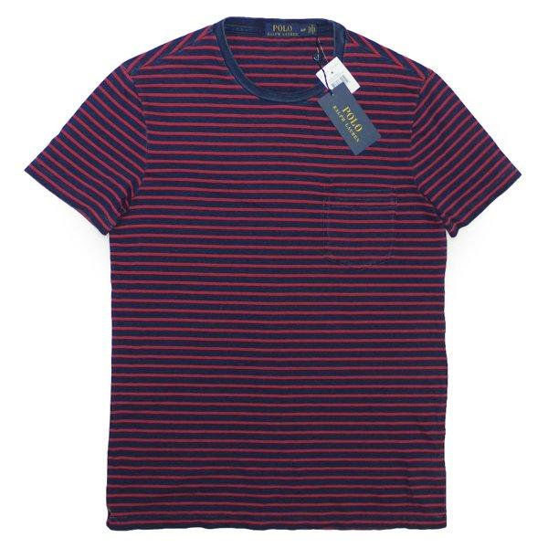 Polo Ralph Lauren ポロラルフローレン スラブニット インディゴボーダー ポケットTシャツ【$85】 [新品] [049]