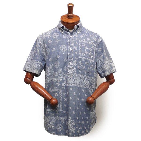 Polo Ralph Lauren ポロラルフローレン プルオーバー シャンブレーシャツ インディゴ ペイズリー柄 半袖シャツ【$145】 [新品] [129]