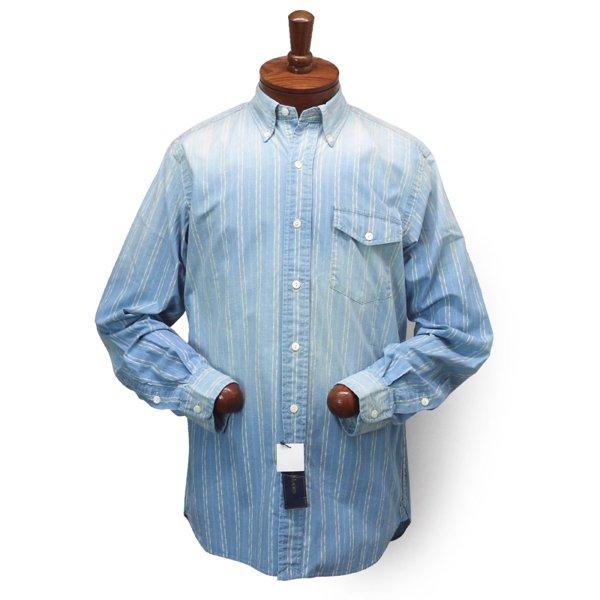 Ralph Lauren ラルフローレン ビンテージ加工 インディゴ ボタンダウンシャツ 旧タグ【$175】 [新品] [131]