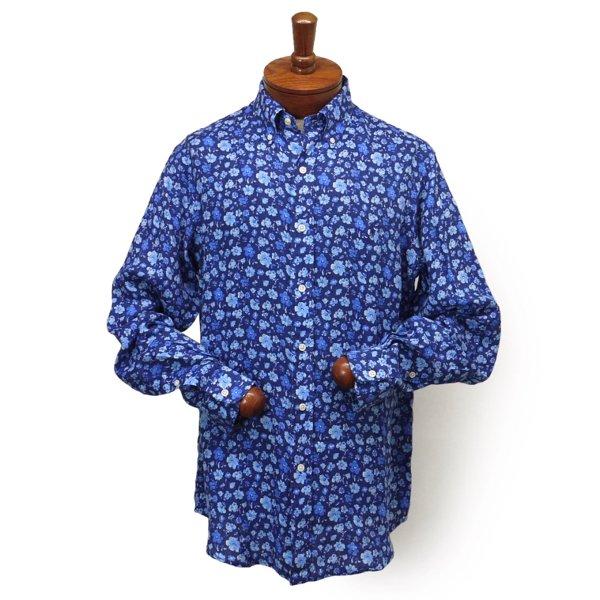 Ralph Lauren ラルフローレン インディゴ フローラル リネンシャツ ボタンダウンシャツ [新品] [132]
