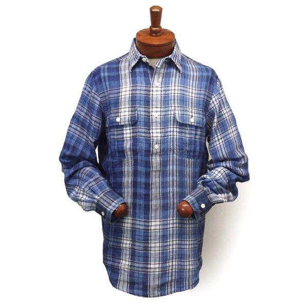 Polo Ralph Lauren ポロラルフローレン インディゴチェック プルオーバーシャツ リネンシャツ【$145】 [新品] [133]