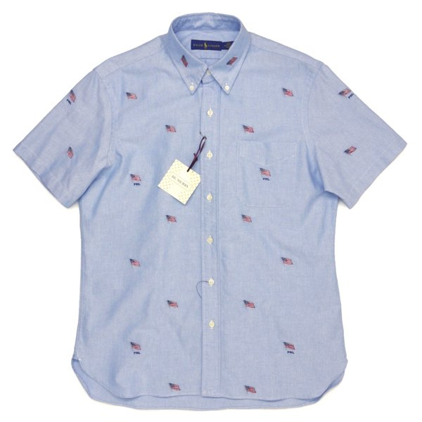 Polo Ralph Lauren ポロラルフローレン 星条旗柄 ボタンダウン オックスフォードシャツ 半袖シャツ [新品] [140]
