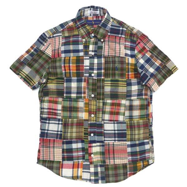 Polo Ralph Lauren ポロラルフローレン マドラスチェック ボタンダウン パッチワークシャツ 半袖シャツ [新品] [141]