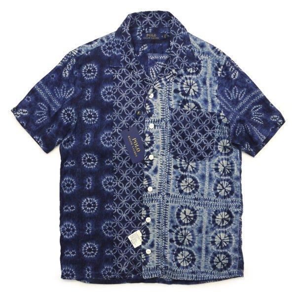Polo Ralph Lauren ポロラルフローレン インディゴ バティックプリント リネンシャツ 開衿シャツ 半袖シャツ [新品] [142]