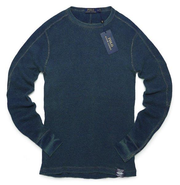 Polo Ralph Lauren ポロラルフローレン インディゴ ワッフルニット サーマルTシャツ 長袖Tシャツ [新品] [033]