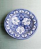 サフィの陶器 皿-M- 白地×紺色