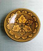 サフィの陶器 皿-M- 黄色地×黒色