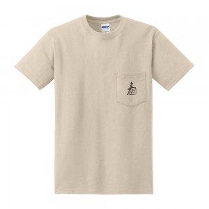 刺繍ポケット付きTシャツ 「レコード・ガール」