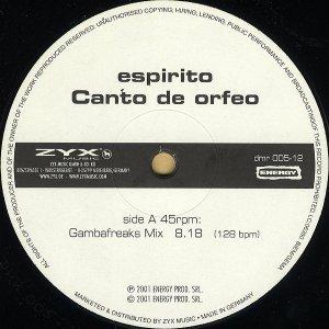ESPIRITO / Canto De Orfeo [12INCH]