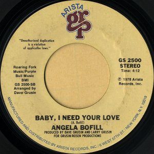 ANGELA BOFILL / Baby, I Need Your Love [7INCH]