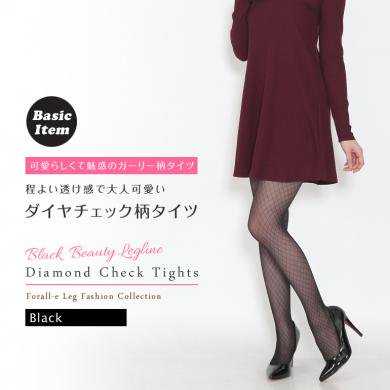 ガーリー カジュアル 20デニール 小ダイヤ柄 ブラック デザイン タイツ 日本製 黒 M-L