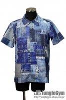 60%off Burnout(バーンアウト)デニムパッチ柄 水陸両用半袖シャツ