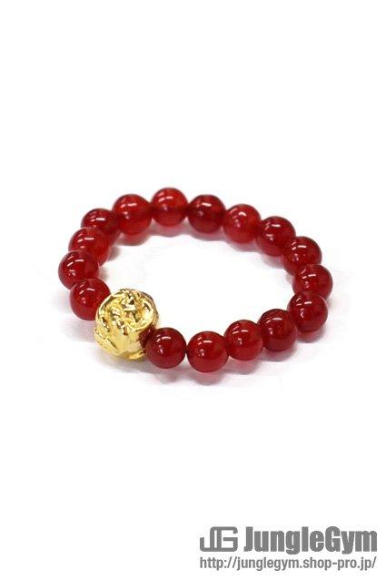 SAHRIVAR(シャフリーヴァル)Jesus Ball Ring(Red Agate)Brass 18KGP