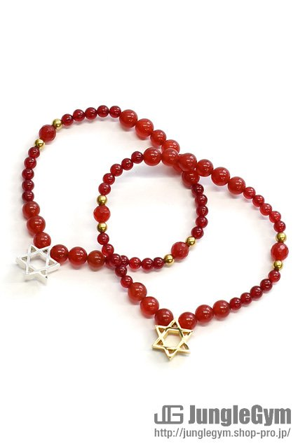★受注生産予約 SAHRIVAR(シャフリーヴァル)Hexagram Bracelet(Red Agate)