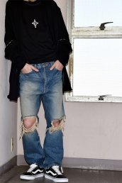 dirtytoy(ダーティートイ)Diamonds Embroidery Grunge Denim Pants