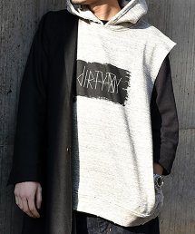 30%off! dirtytoy(ダーティートイ)dirty Paint Logo No Sleeve Hoodie / グレー