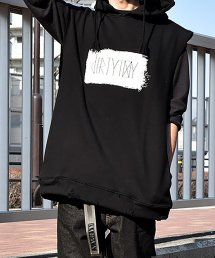 30%off! dirtytoy(ダーティートイ)dirty Paint Logo No Sleeve Hoodie / ブラック